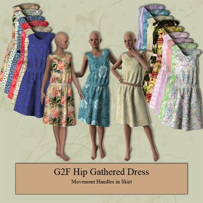 Hip Gathered Dress for Genesis 2 Female