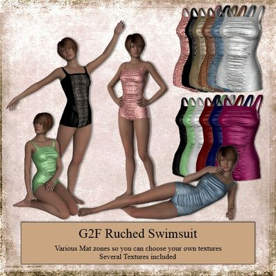 Ruched Swimsuit for Genesis 2 Female