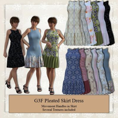 Pleated Skirt Dress for G3F