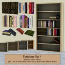 Furniture Set 4 - Bookcase & Books